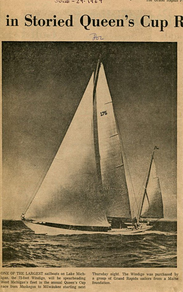 Grand Rapids Press photo of sailboat Windigo June-20-1969
