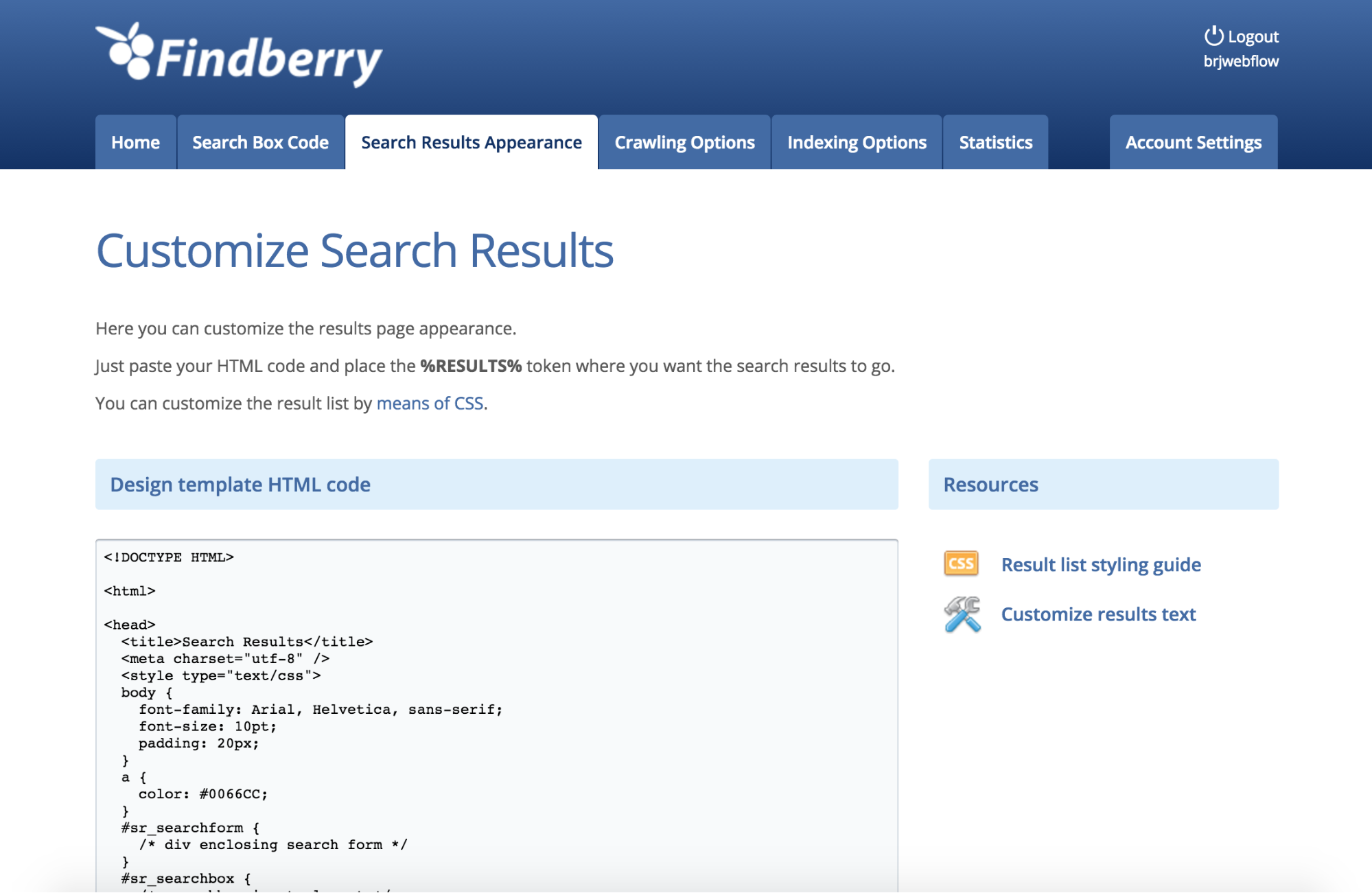 findberry s search results can only be styled with handwritten css