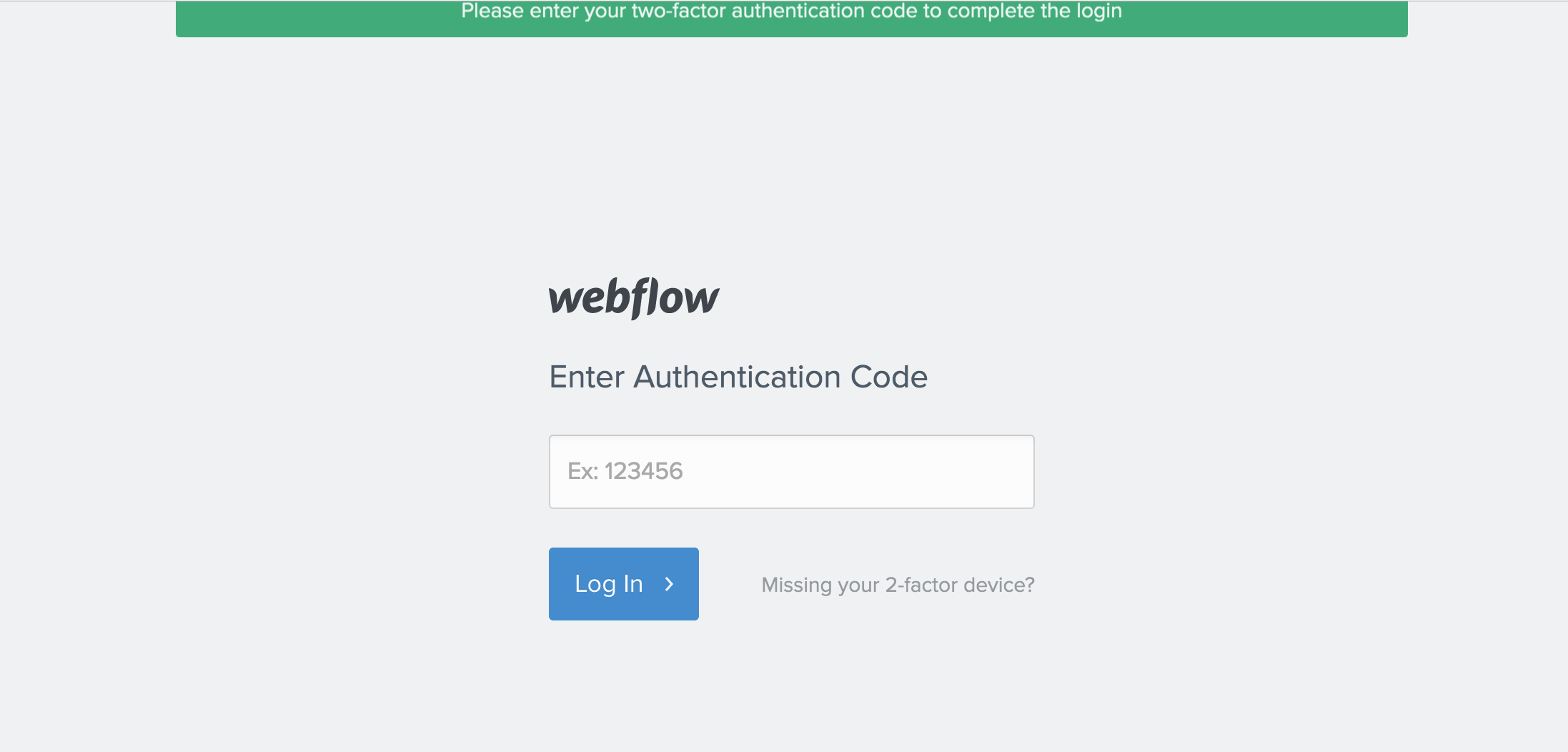 Enter your authentication code to log in.