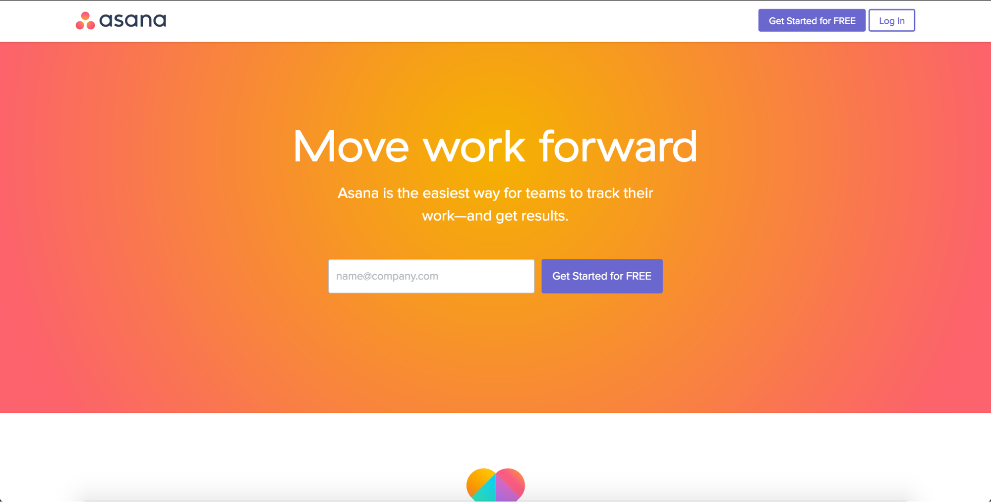 Asana's gradient-rich, saturated homepage