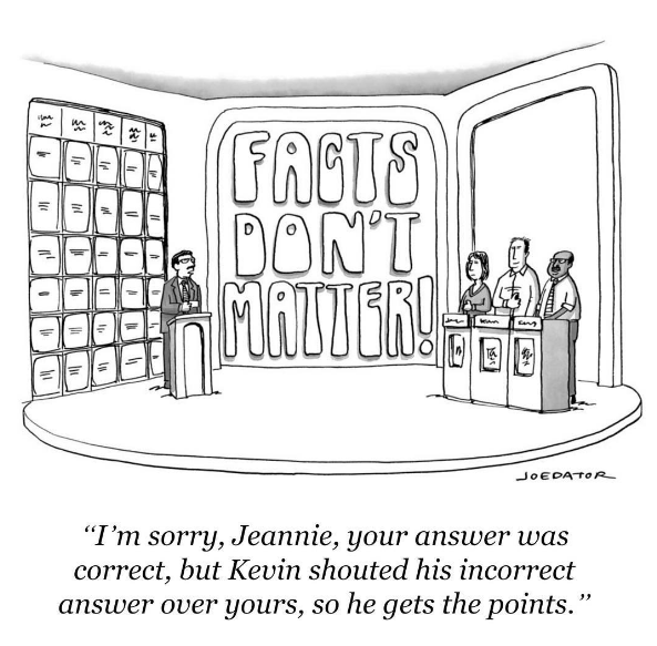 """I'm sorry, Jeanne, your answer was correct, but Kevin shouted his incorrect answer over yours, so he gets the points."""