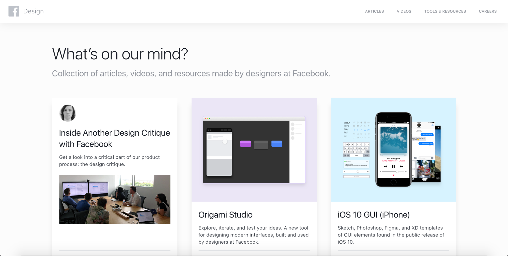 Facebook.design homepage