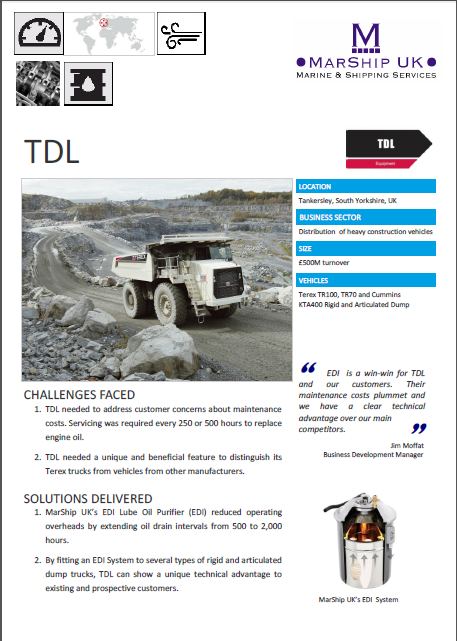 TDL increasing reliablity in Diesel engines by cleaning fuel