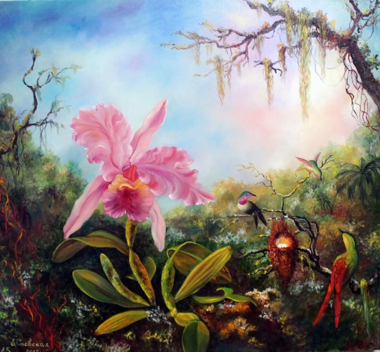 Орхидея и три колибри