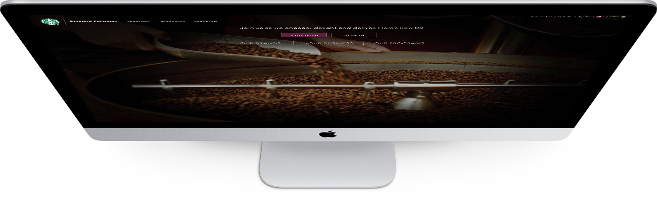 Starbucks Branded Solutions Home Page on iMac