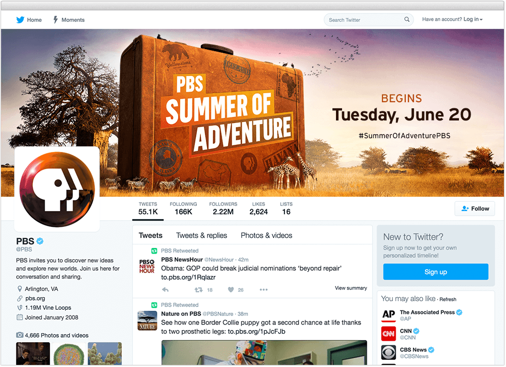PBS Summer of Adventure Twitter page