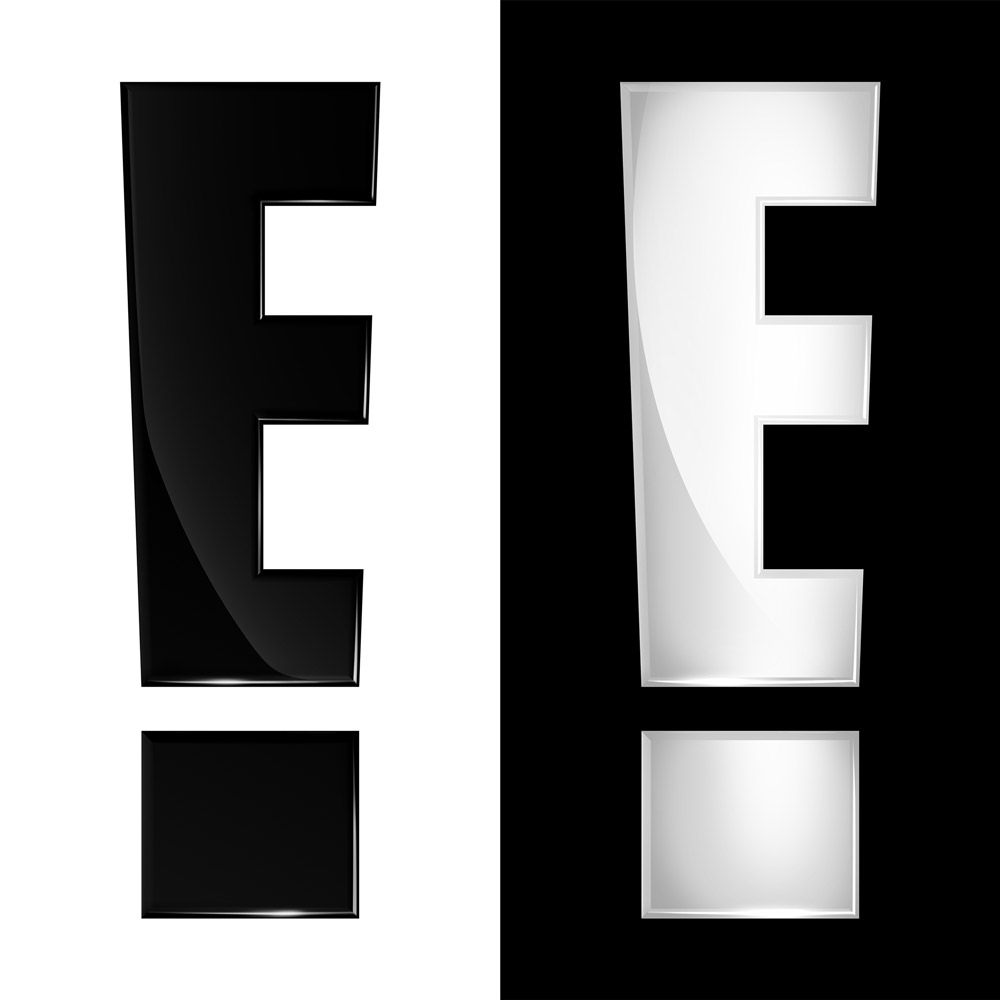E! Logos against white and black
