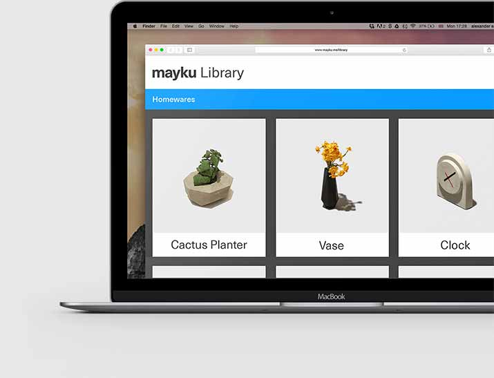 Mayku library displayed on a computer