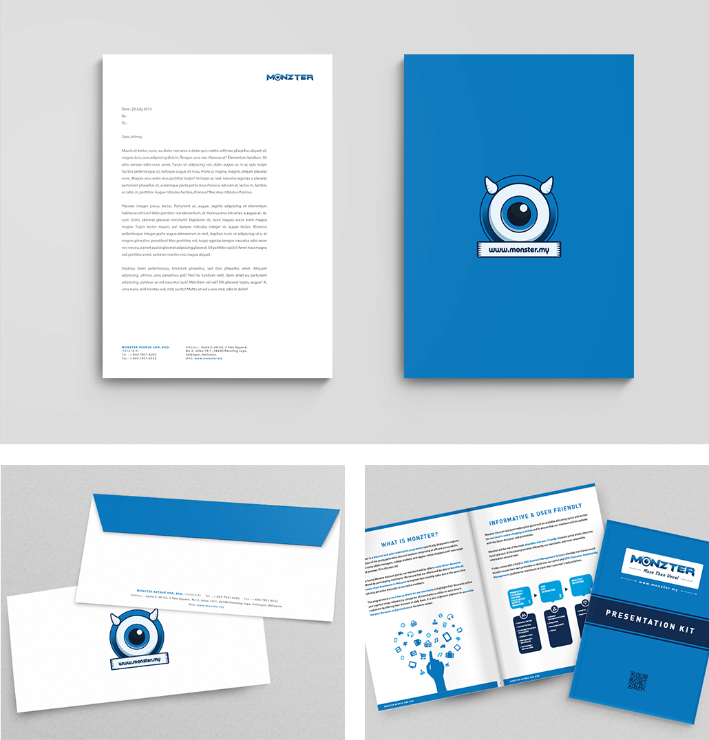 Monzter Collateral Designs - Letterhead, Envelope, Presentation Kit
