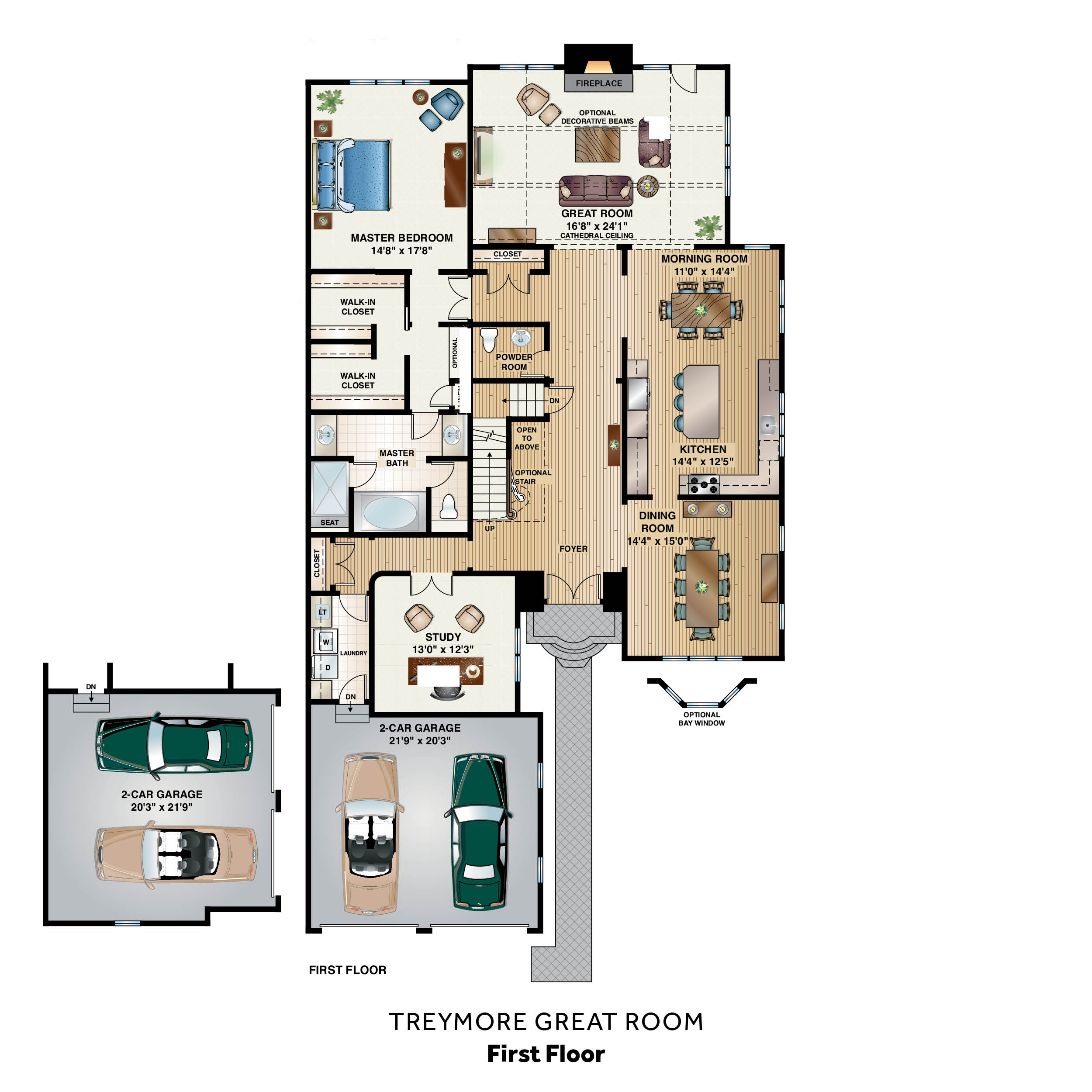 Custom carriage home the treymore great room the for House plans with great room in front