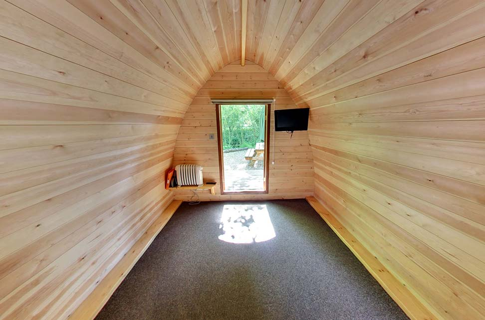 Inside camping pods