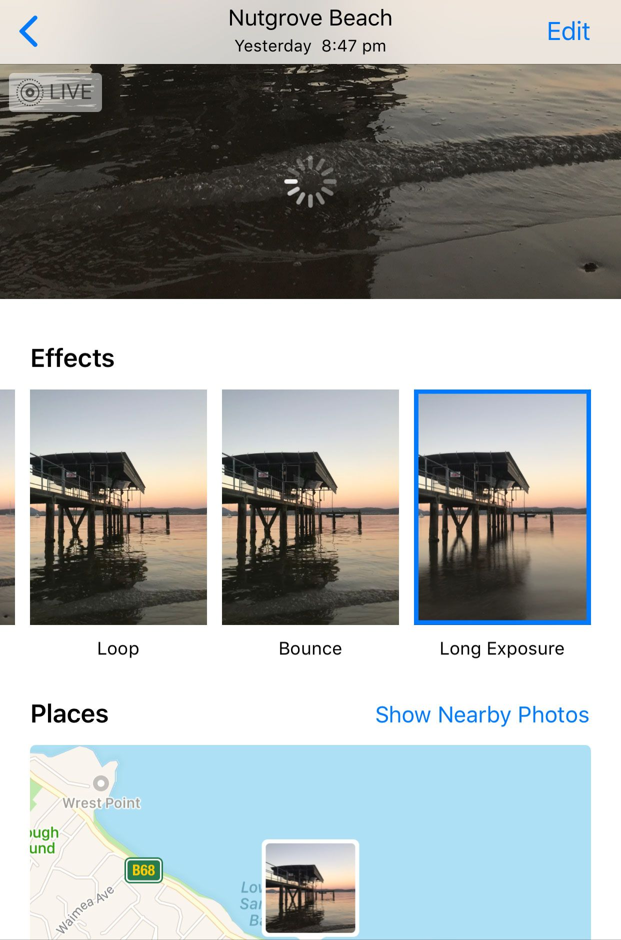 swipe to access long exposure