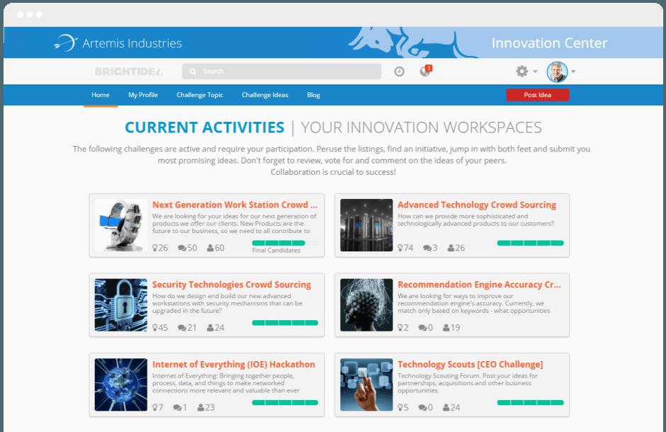 Software de Gestão da Inovação -  desafios de inovação