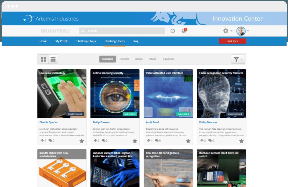 Programa de Inovação Corporativo - Ideias registradas pela comunidade colaborativa