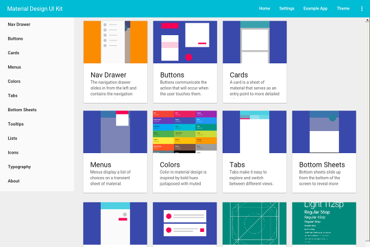 Google Material Design - UI Kit - Webflow