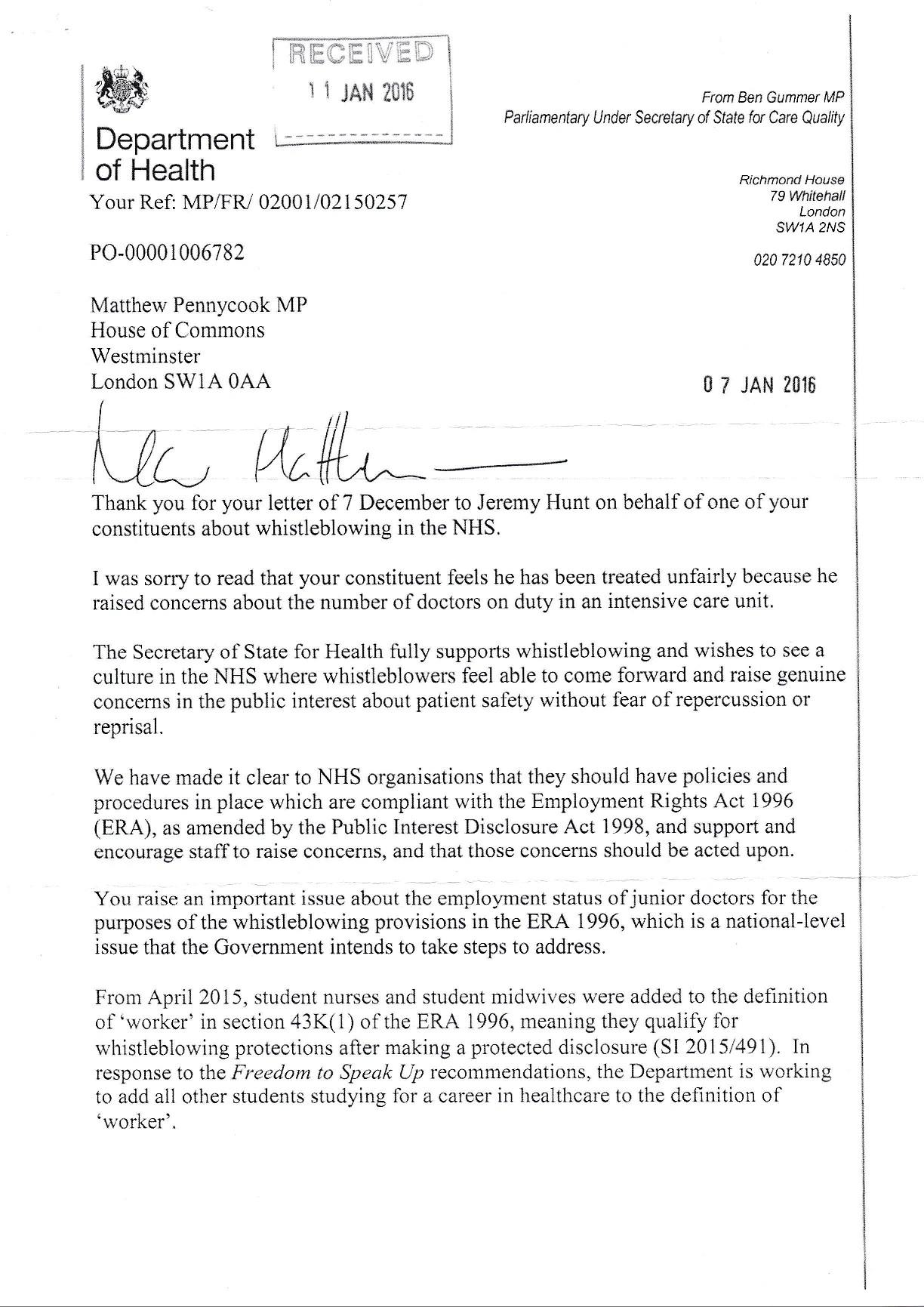 letter to bma jdc chair in response to contract agreement