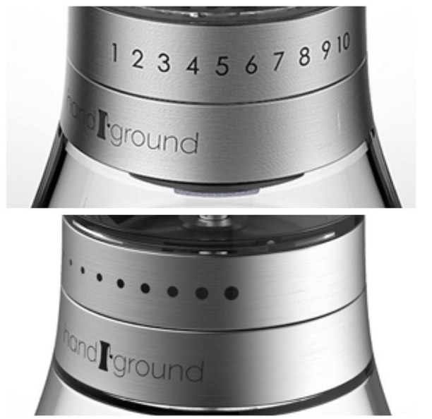 Numbers vs dots on Handground manual coffee grinder