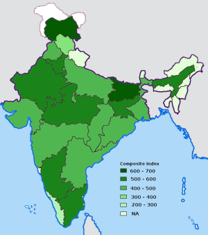 Index of corruption by Indian states in 2005