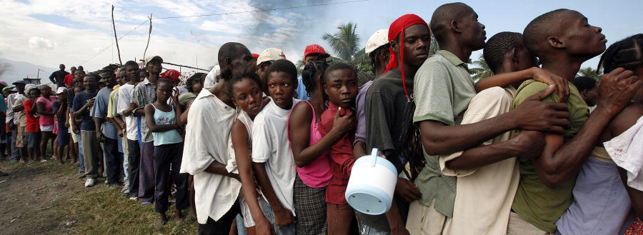 Queuing for food and water in Haiti