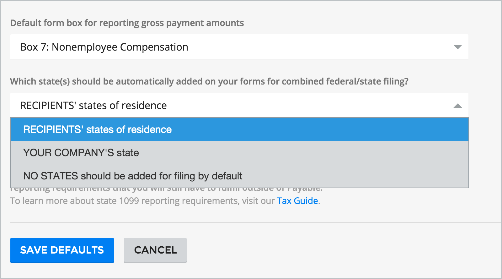 Payable Tax - Recipient's State of Residence