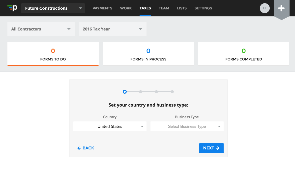 Set country and business type