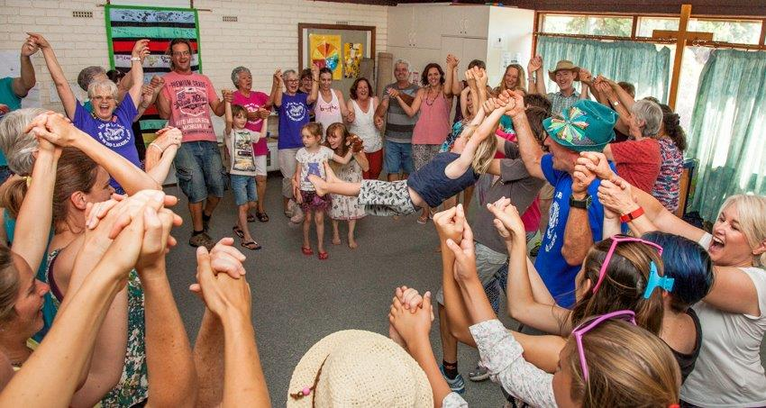 Laughter yoga group