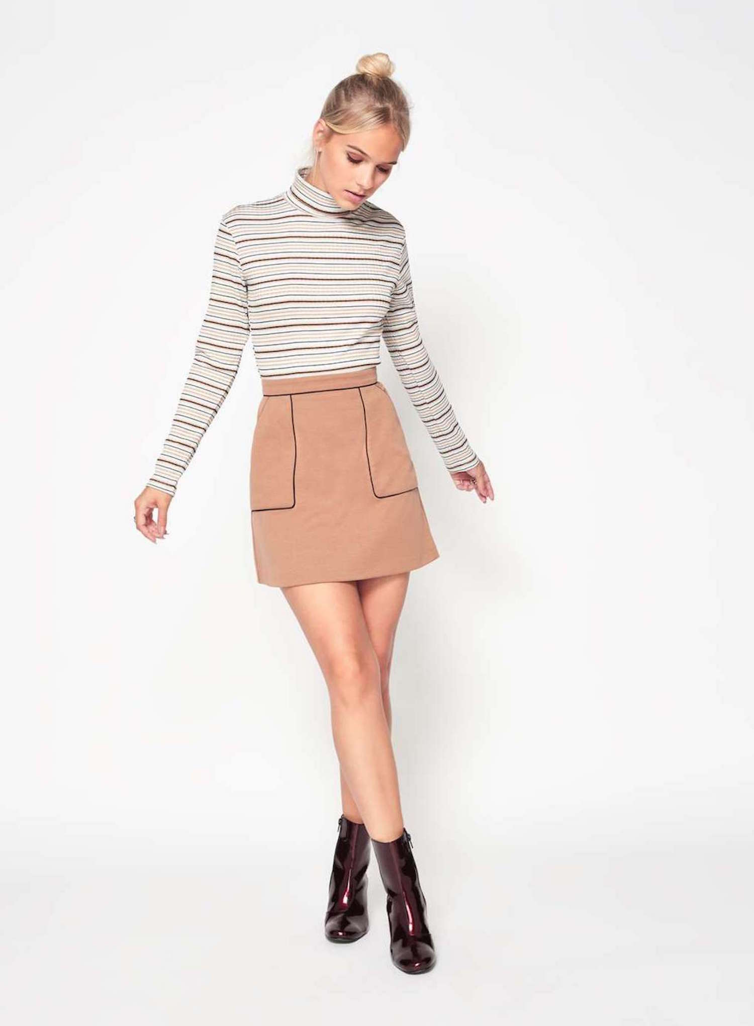 Striped top and mini skirt