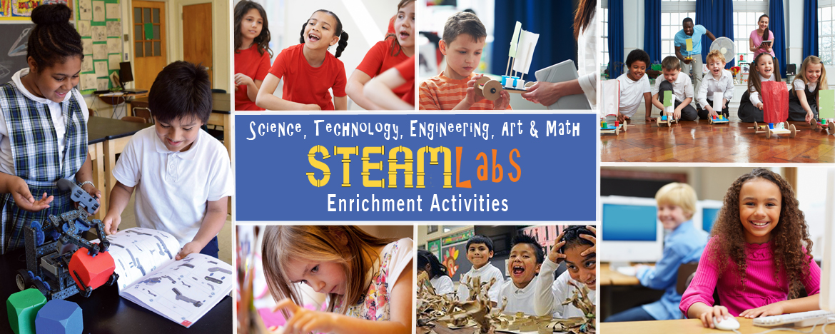 Photo collage of students engaged in building robots, racing hand-built cars, working on computers.