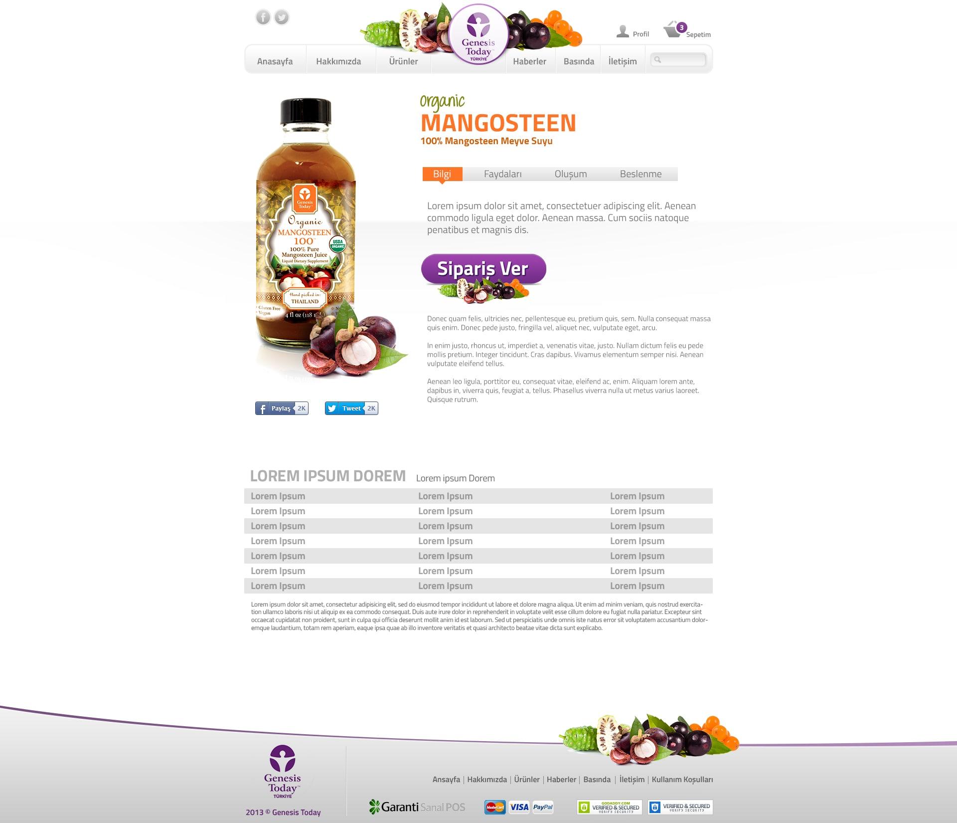 İçecekler Ürün Sayfa Tasarım