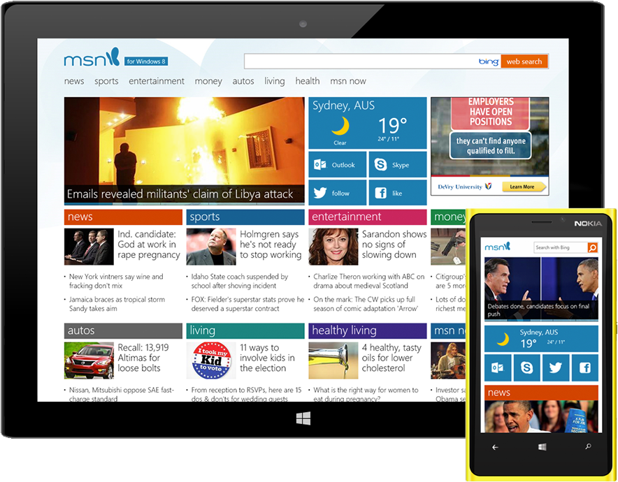 Microsoft main page and device view