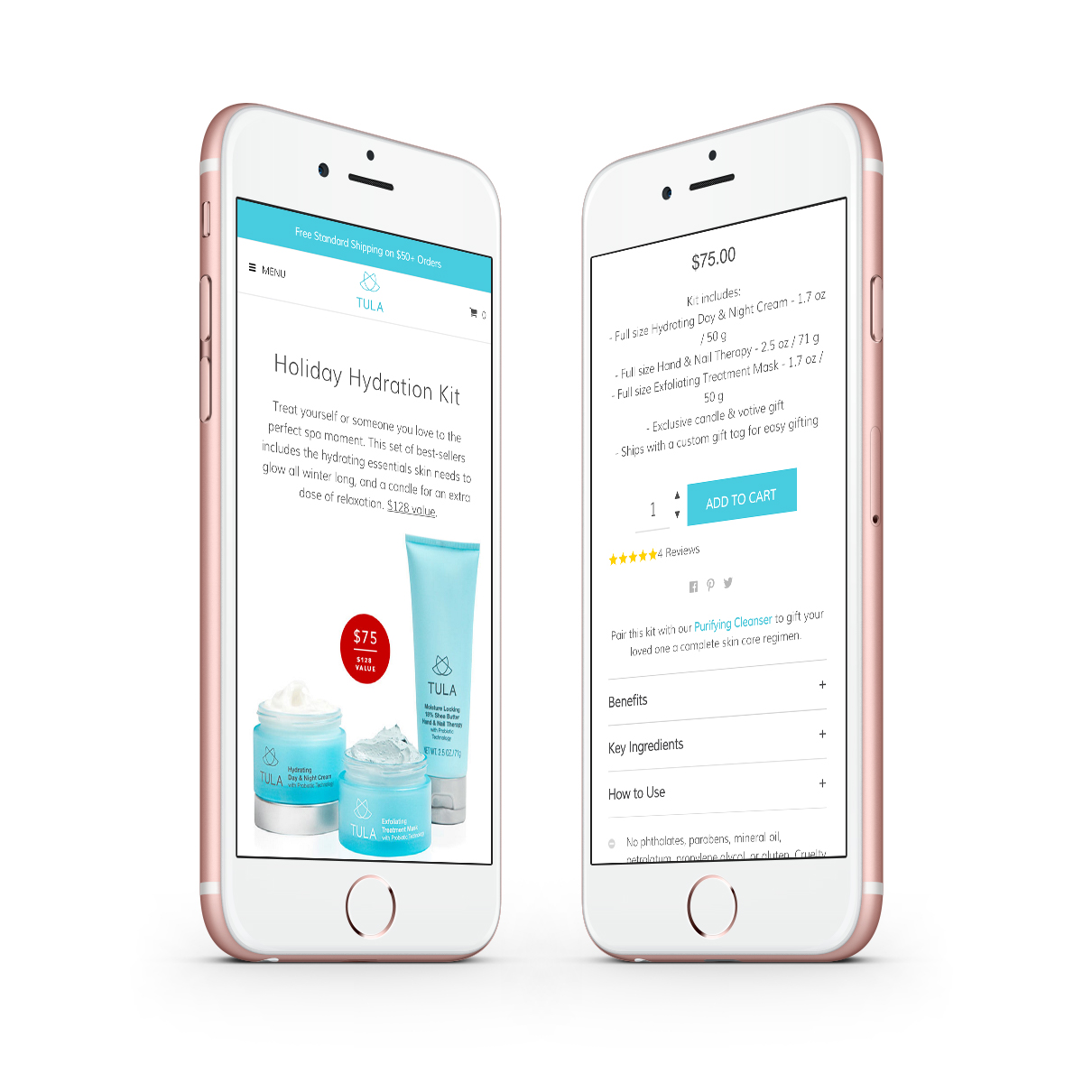 TULA product page in device