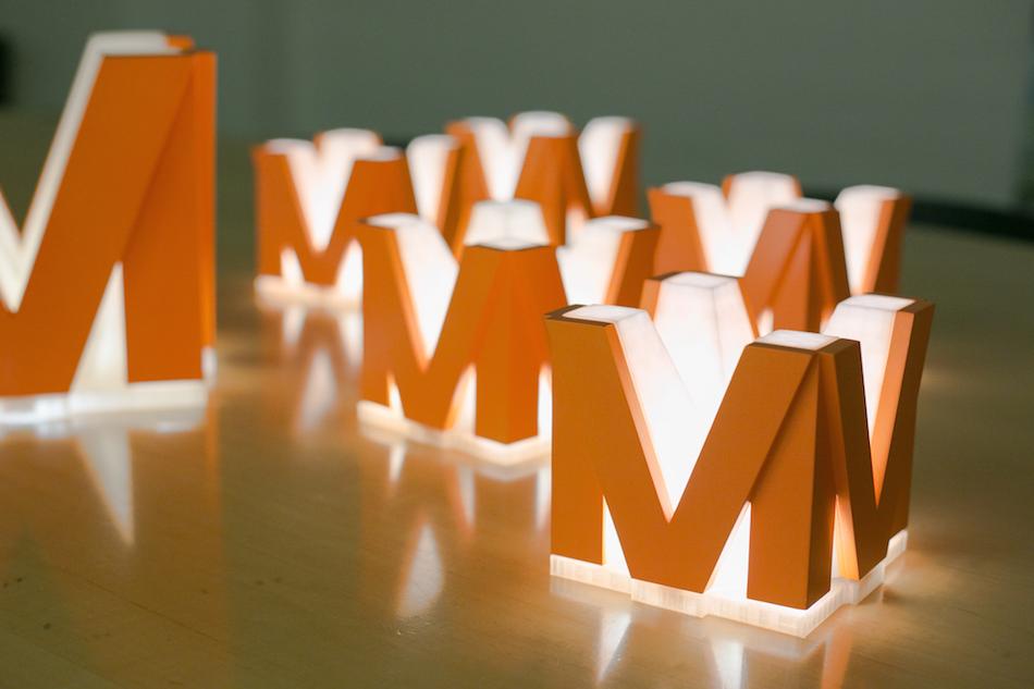 glowing M lantern