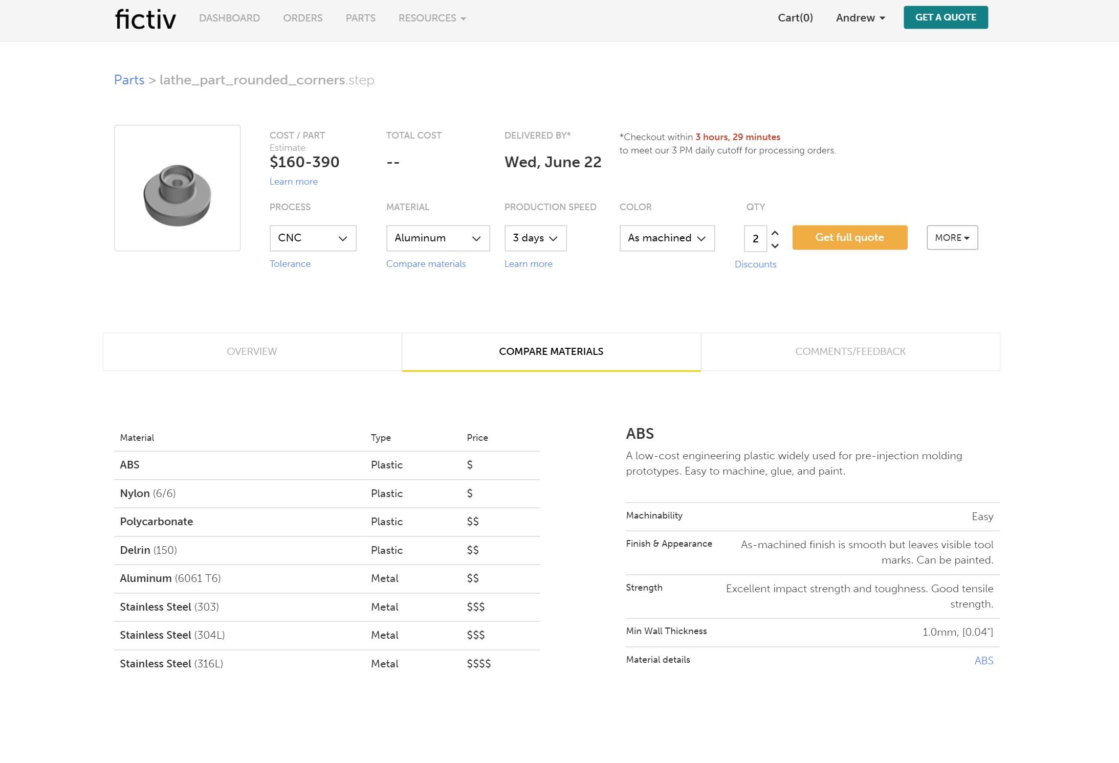 fictiv platform material comparison page
