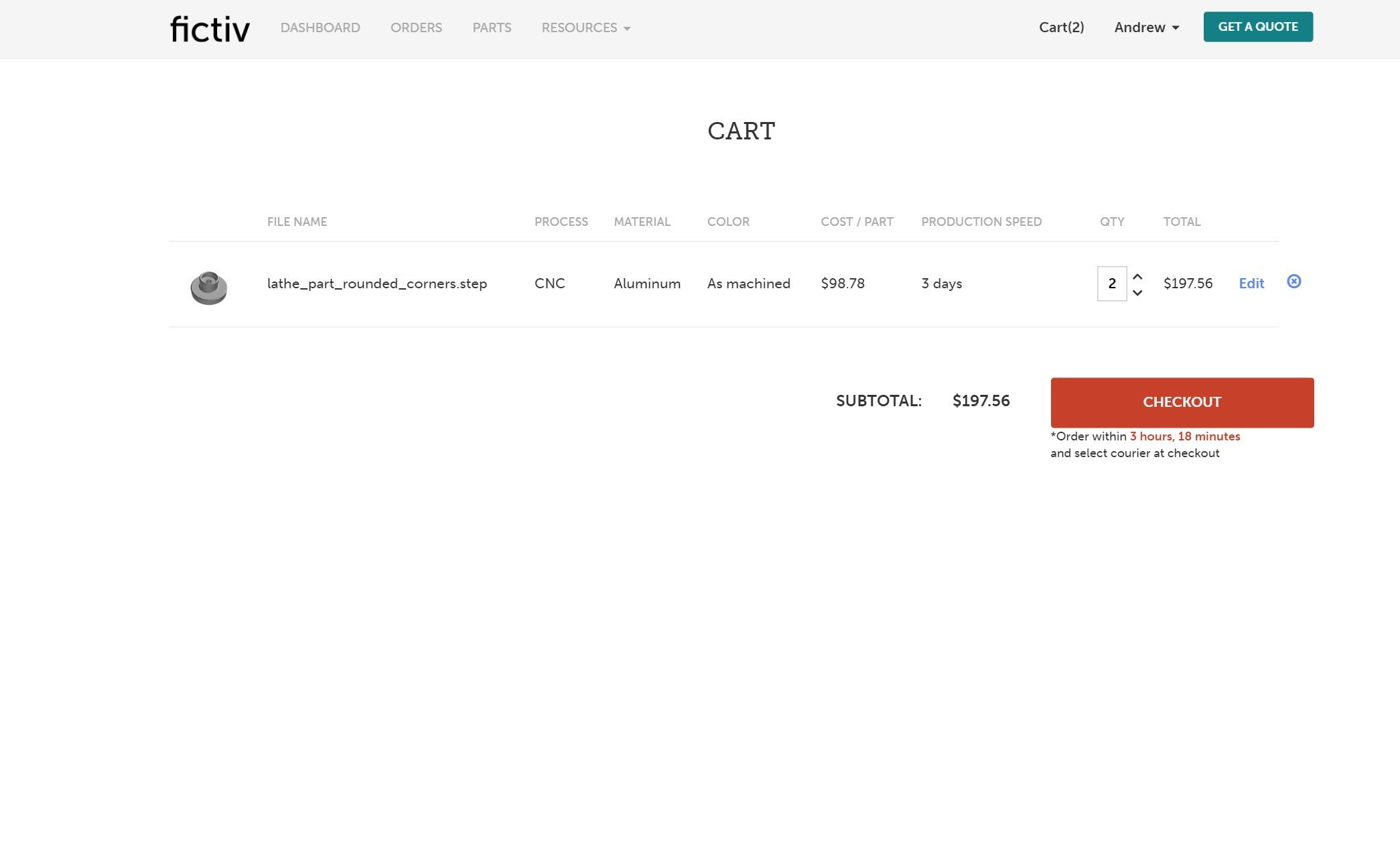 fictiv platform cart page