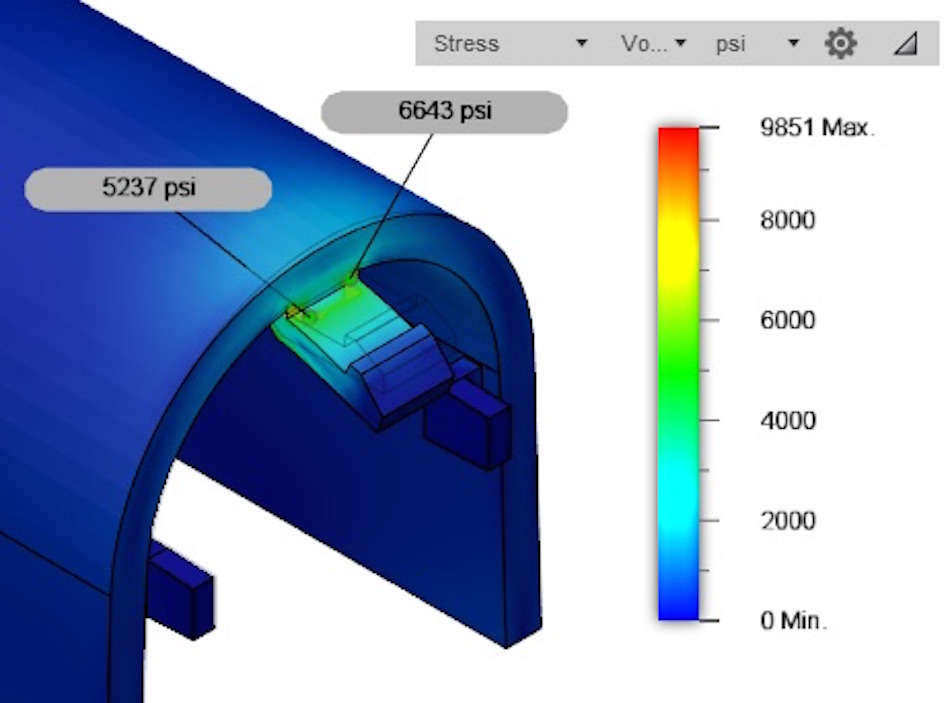the same simulation as the one prior, now looking at the stresses in the part