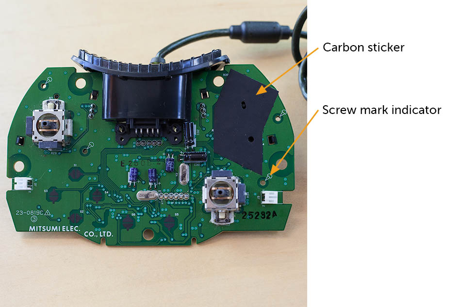 original Xbox controller carbon sticker and screw mark indicator