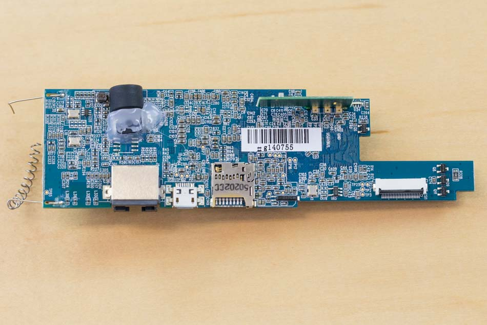 bottom side of board, with micro SD card slot and elastomer microphone shroud