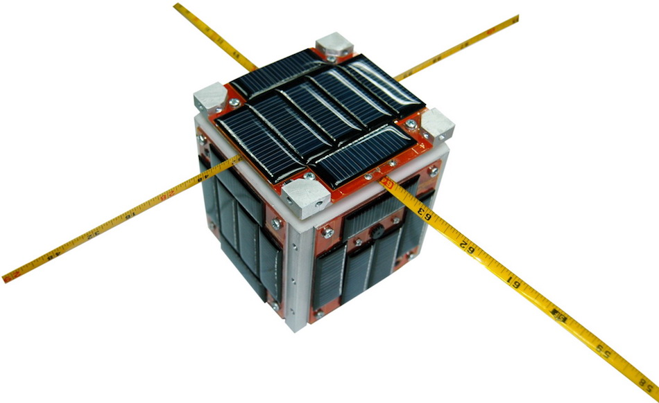 CubeSat with antennae made of measuring tape