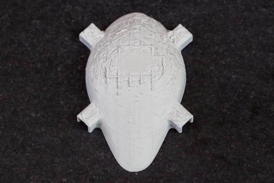 the rougher surface of a PLA printed part after support material is removed