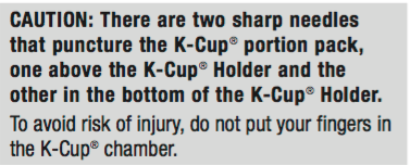 Caution message about sharp needles in K-Cup Holder Assembly