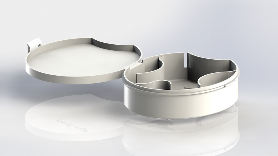 A Bubble Yum container in which a living hinge across the back has replaced friction with flexure