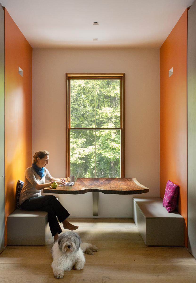 Boston Architects BUTZ + KLUG architecture, Brookline Ren, Brookline Renovation, walnut crotch table