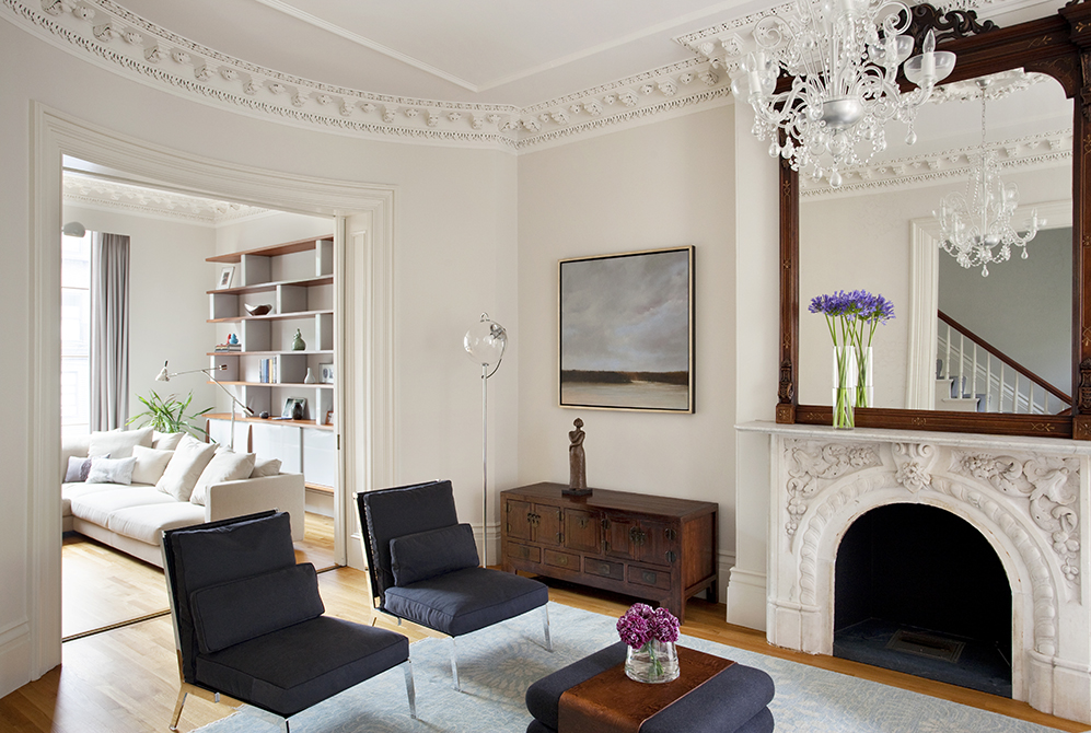 Boston Architects BUTZ + KLUG architecture, South End renovation Interior Front Parlor