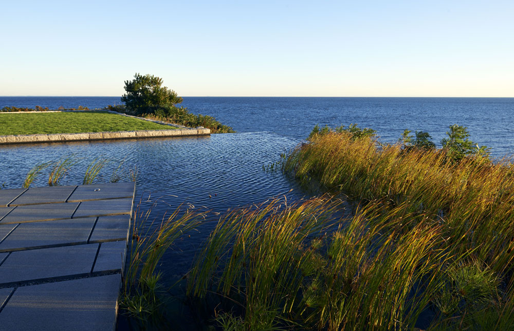 Boston Architects BUTZ + KLUG architecture, infinity edge natural pool, North Shore Gloucester MA