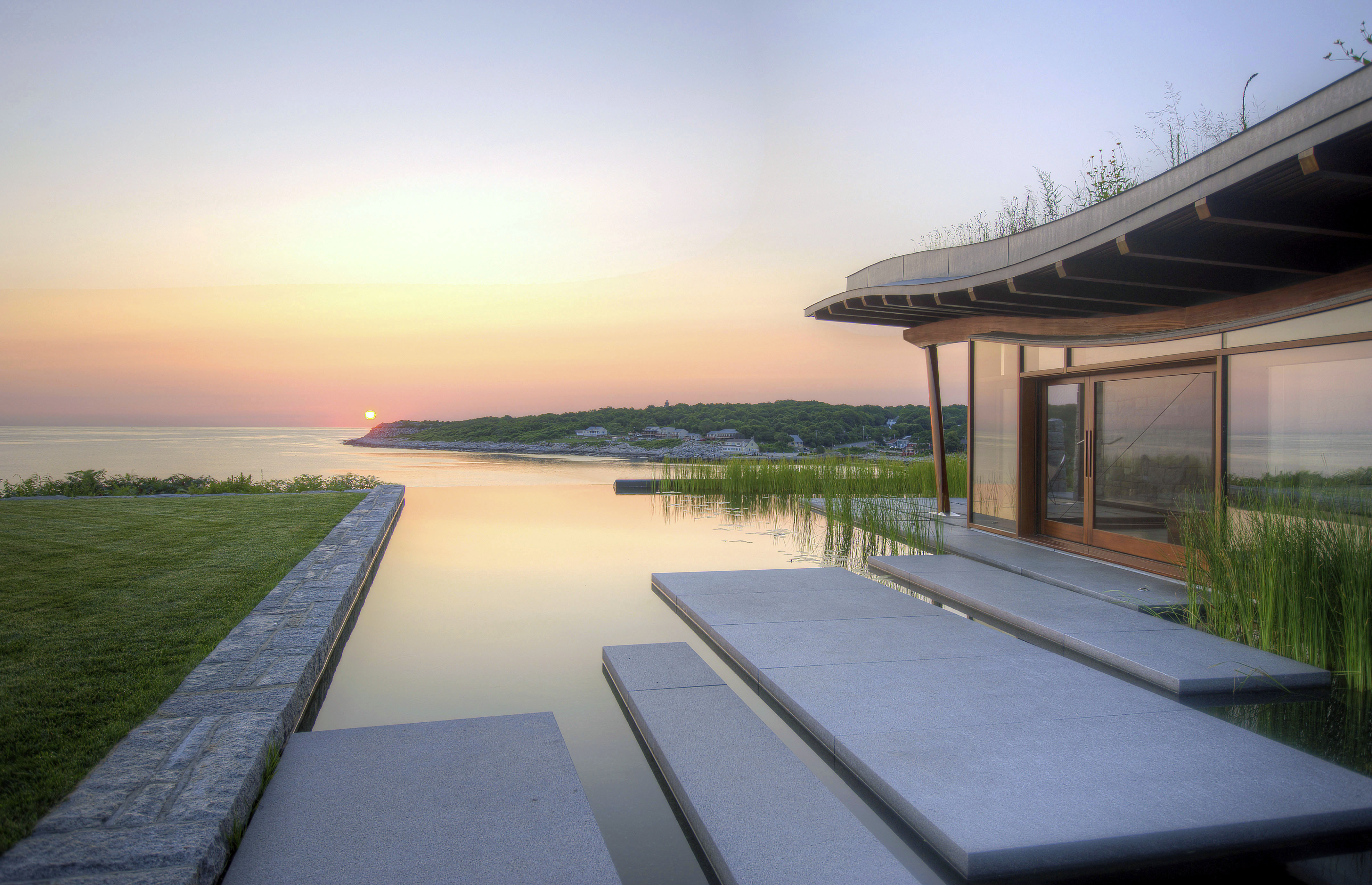 North Shore, Natural Pool infinity edge pool, pool house, sunrise,