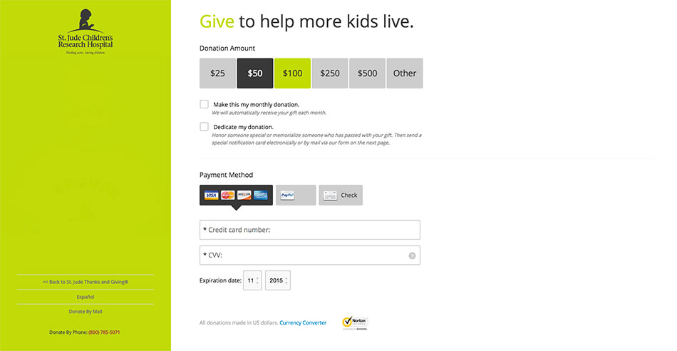 branded donation form