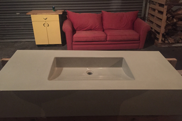 concrete sink and couch