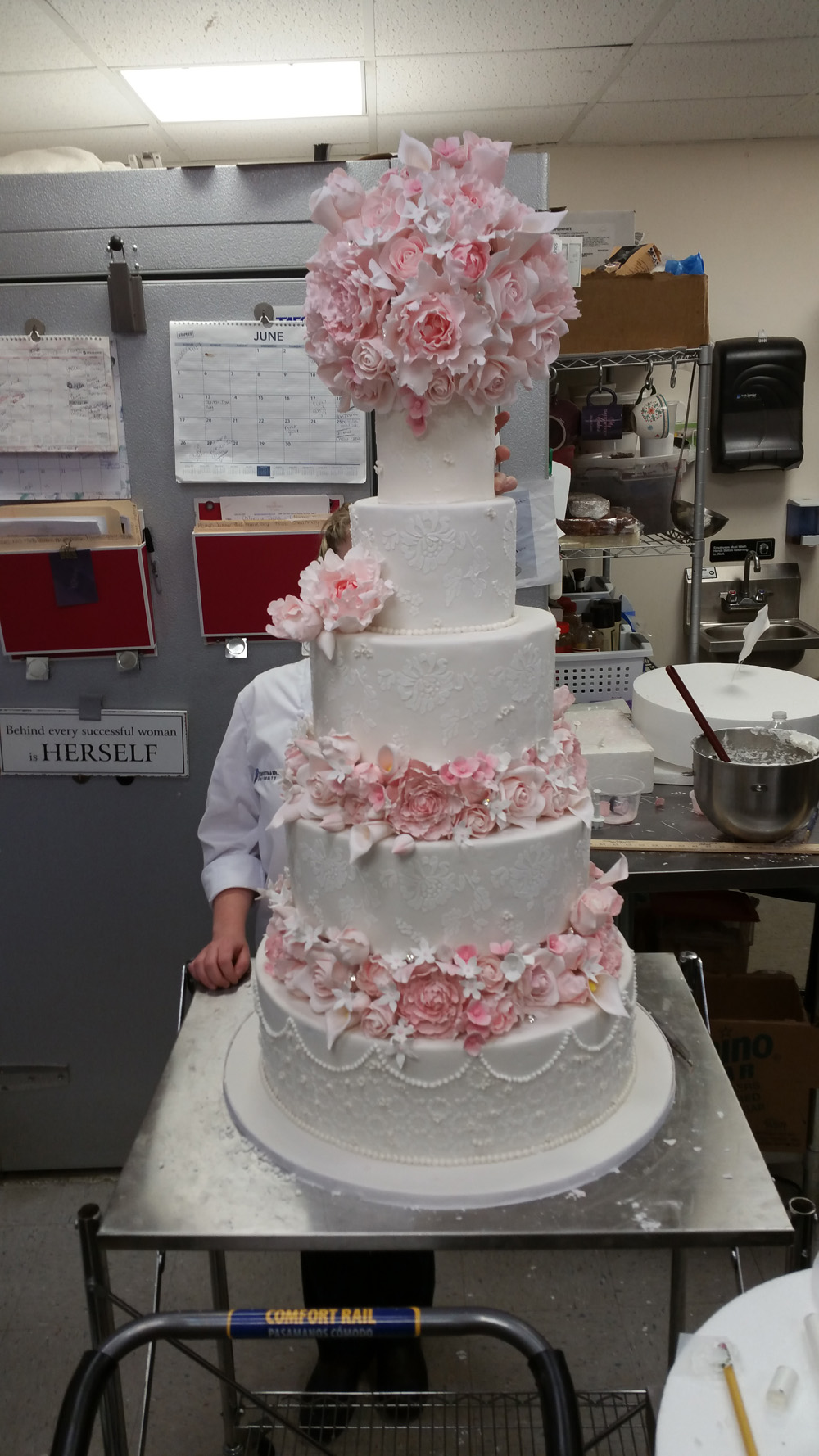 Decorative stages of wedding cake by My Daughter's Cakes Dumont NJ
