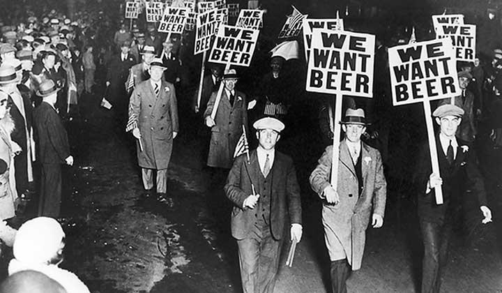 Manifestation pour la bière pendant la prohibition