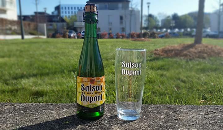 La bouteille de Saison Dupont et son verre